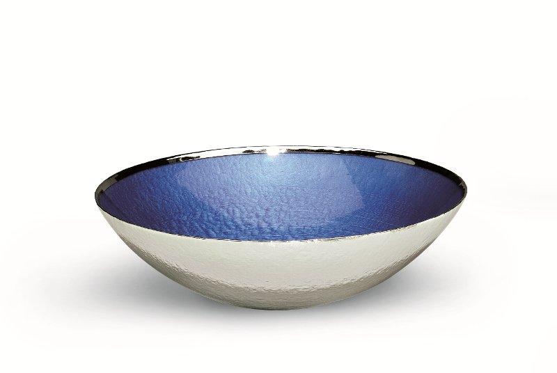 Centro tavola in vetro colore blu argentata