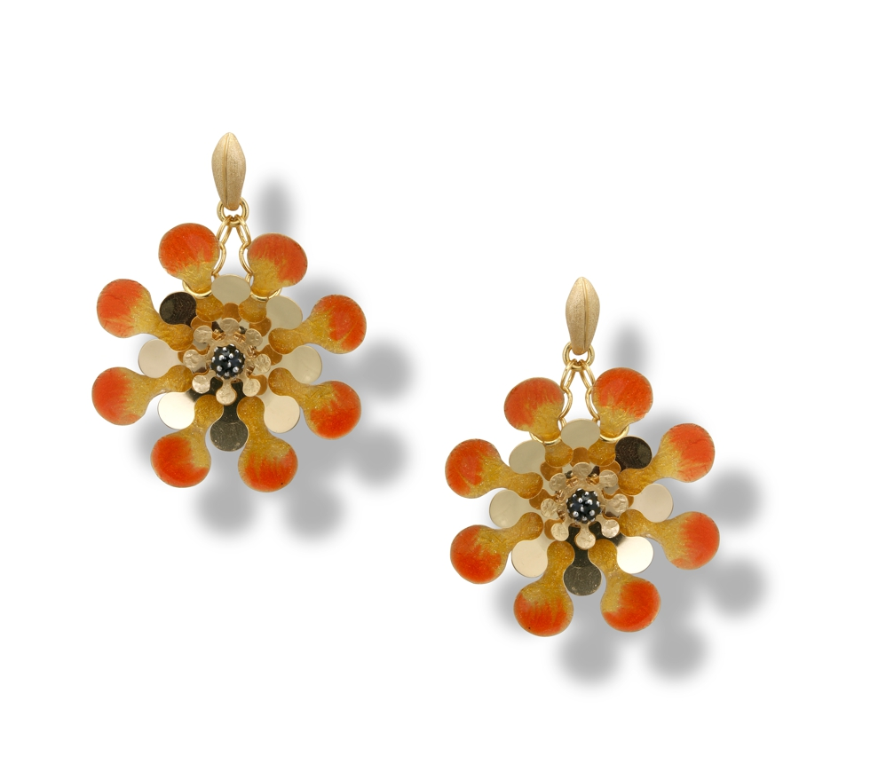 Orecchini in argento e smalto arancio-giallo