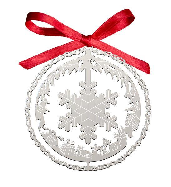 Decoro Natalizio Fiocco di Neve Argentato
