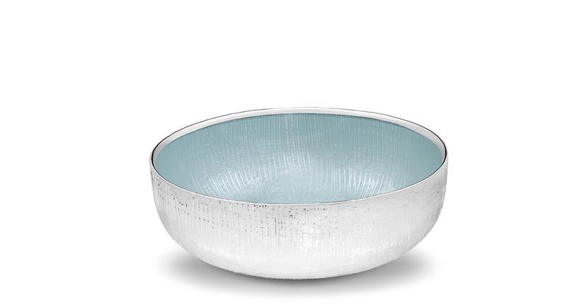 Ciotolina tonda in vetro argentato colore azzurro