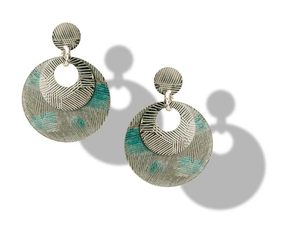 Orecchino a cerchio azzurro-argento