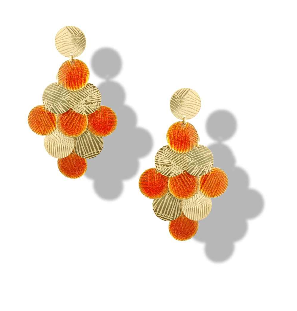 Orecchino grappolo arancione