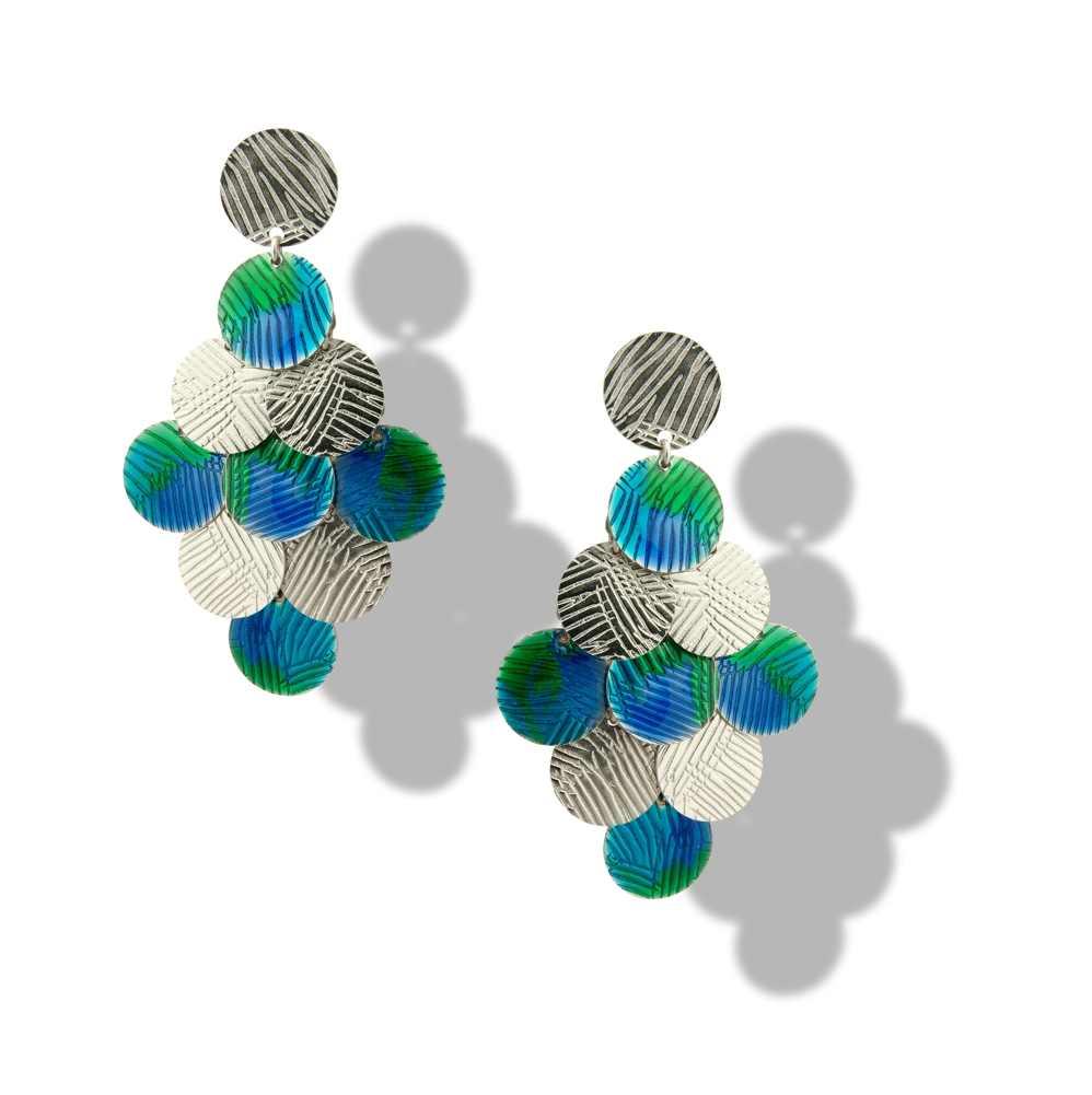 Orecchino grappolo blu-verde