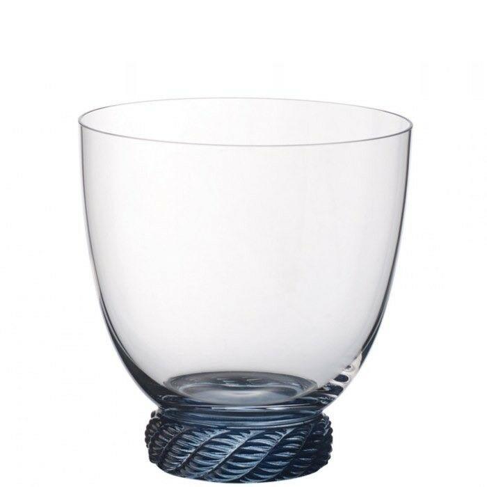 8 bicchieri in cristallo trasparente con base azzurra modello Montauk