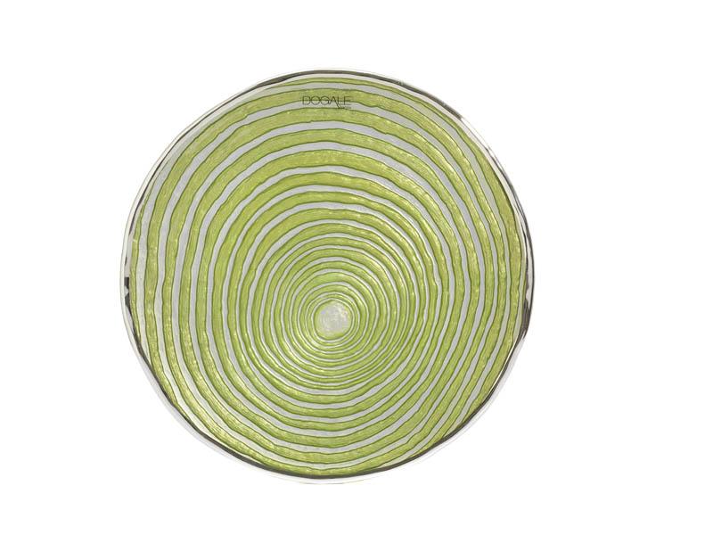 Piatto in vetro e argento verde