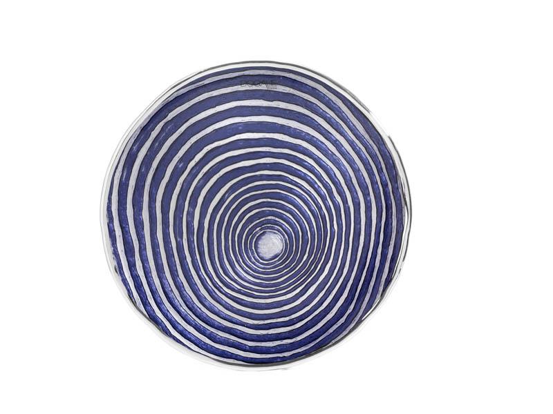 Piatto – Centrotavola in vetro e argento blu