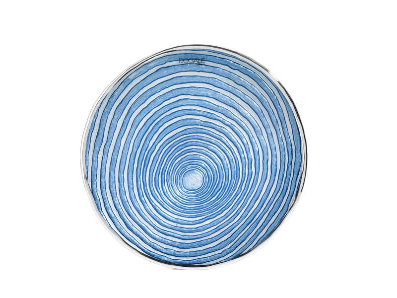 Piatto in vetro e argento azzurro