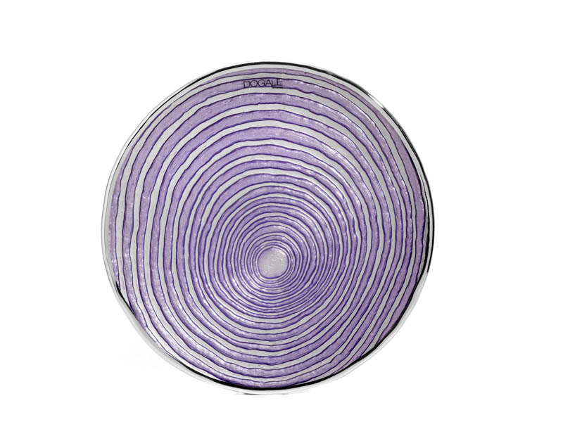 Piatto – centrotavola in vetro e argento lilla
